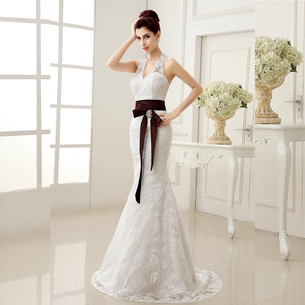 Elegant Romantic 2016 Half Sleeve White Ivory Lace Mermaid