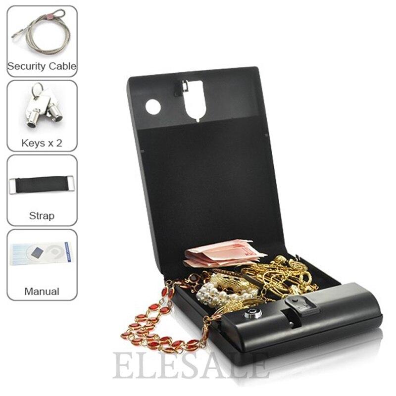 Портативная коробка безопасности, биометрический Сейф по отпечатку пальца для хранения наличных ювелирных изделий или документов