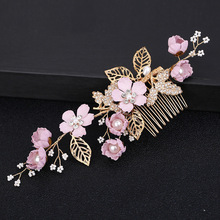 hairpin headdress violet flowers golden leaf  hair comb bridesmaid wedding hair accessories tiarasH056 цена в Москве и Питере