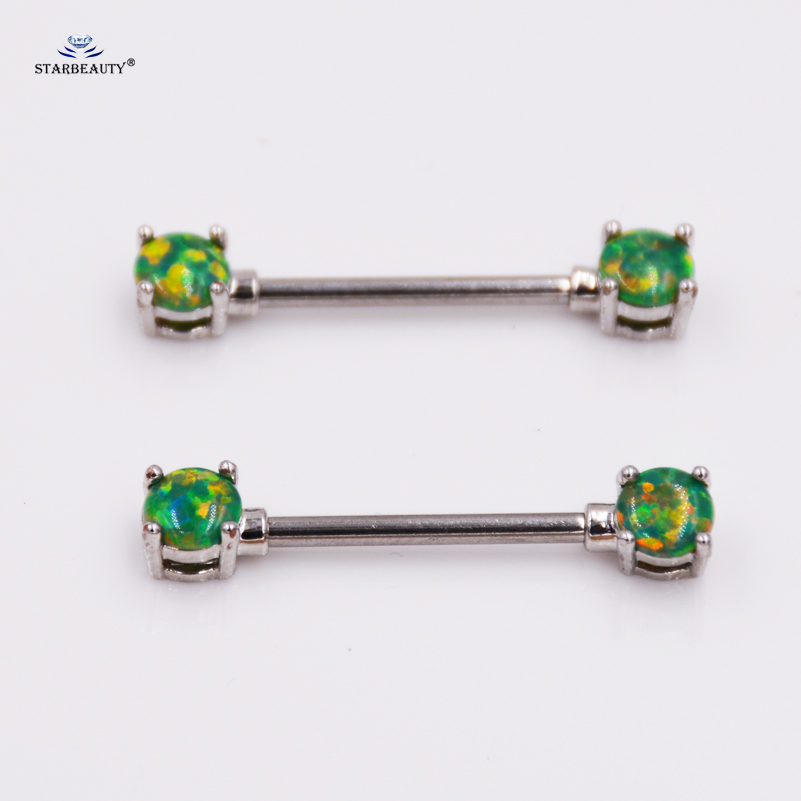 2 Pcslot Top Green Opal Nipple Ring 14G Cute Nipple -8047