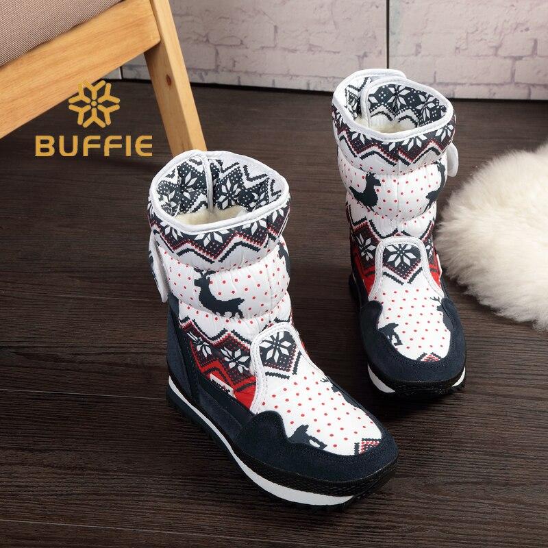 Mulheres inverno botas quentes antiderrapante sola de botas de neve Senhora marinha Veados vermelhos Do Natal estilo da Marca de moda desgaste fácil Fivela botas além de