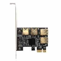 AMZDEAL PCI E 1X To USB3 0 4 PCI E 16X Expansion Card Gilding Home Black