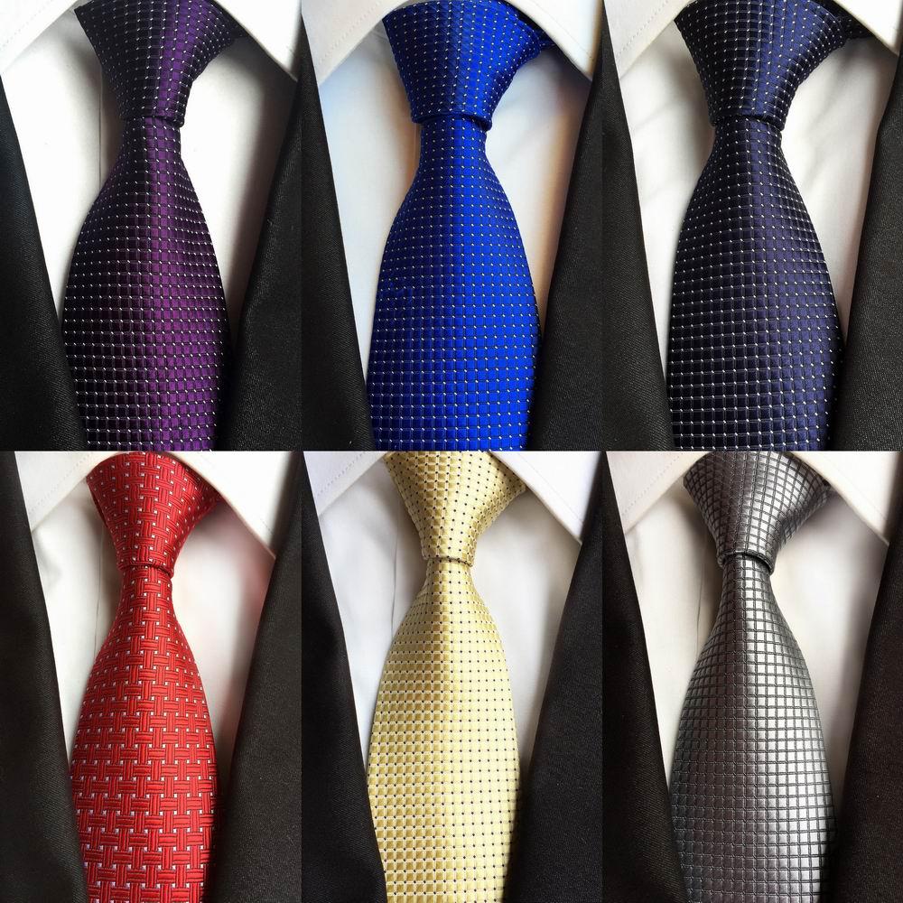 Men Ties Navy Blue Silk Necktie Set Red Checks Polka Dot Jacquard Woven Set New