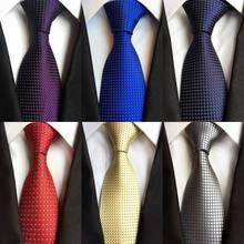 Бренд, 8 см., синие, фиолетовые, красные жаккардовые тканые галстуки из шелка, мужские галстуки с круглым вырезом, полосатые галстуки для мужчин, Свадебный костюм, деловые, вечерние