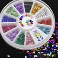 Multicolor Oval 3D Glitters Studs DIY Decoration Nail Art Tips Stickers Wheel  4RAT