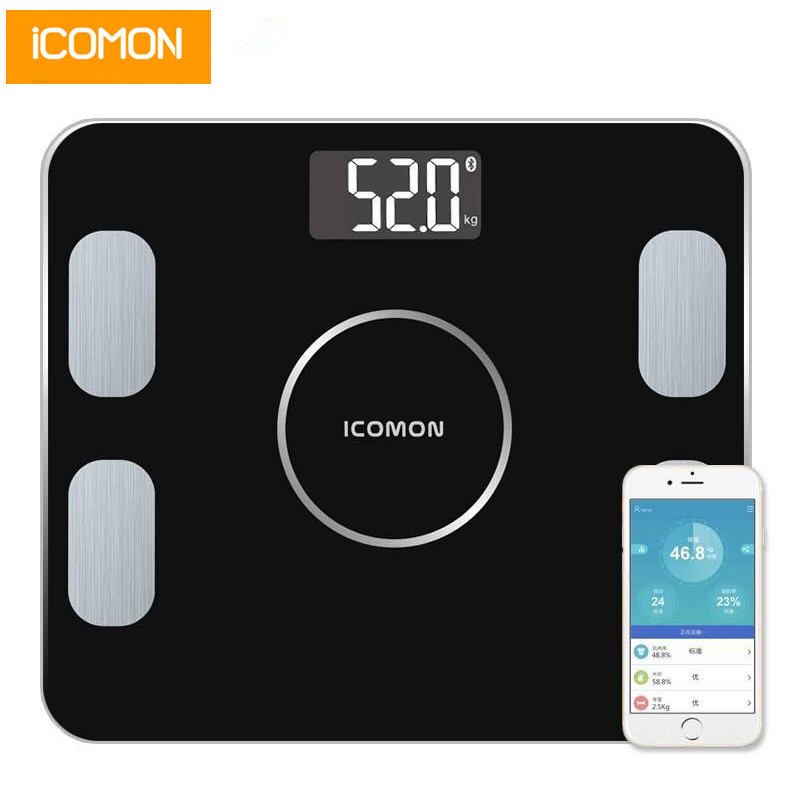 Original ICOMON Smart Body Fat Scale Household Digital Bathroom Weight Scale Floor Bmi Mi Bluetooth Scale Tempered Glass 20 Data(China)