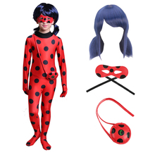 купить Fantasia Kids Adult Lady Bug Costumes Girls Women Child Spandex Ladybug Costume Jumpsuit Fancy Halloween Cosplay Marinette Wig по цене 298.95 рублей
