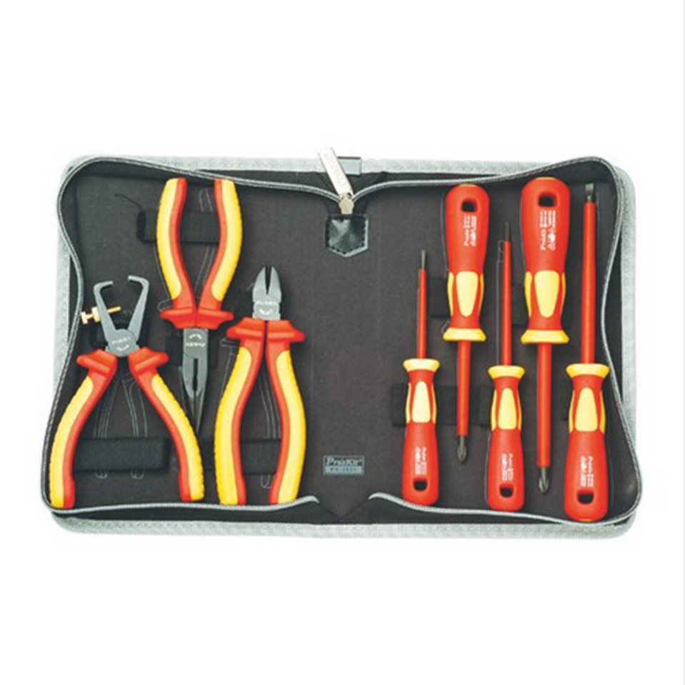 2017 High Quality Taiwan Bao Gong PK-2801 VDE1000V Pro'skit high voltage insulation electrician tool set Free Shipping электроотвёртка bao workers in taiwan 10 8v pt 1080f