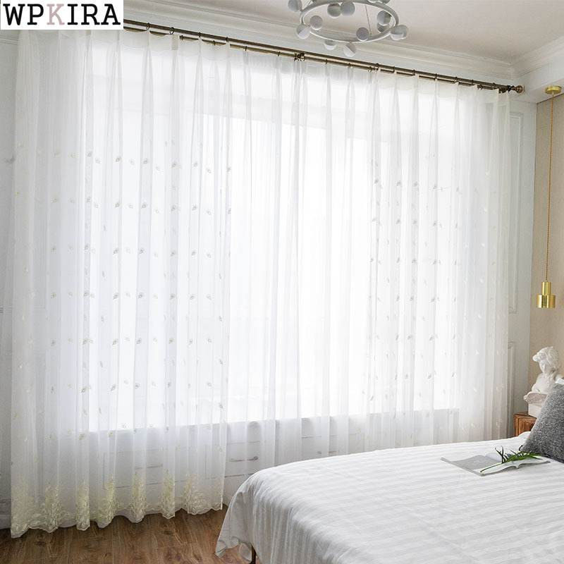 White Embroidered Peacock Net Weaving Curtains For Living Room
