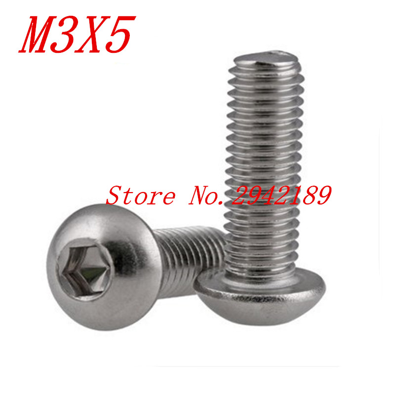 500pcs iso7380 M3*5 M3 x 5 stainless steel button head screw  500pcs iso7380 M3*5 M3 x 5 stainless steel button head screw