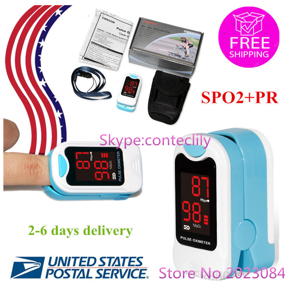 US STOCK CMS50M LED Fingertip Pulse Oximeter,Blood Oxygen Monitor, Care Health, Pouch Free Shipping
