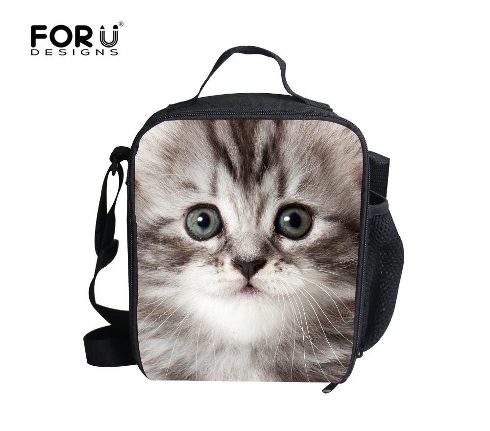 FORUDESIGNS New Fashion Animal 3D Cat Lunch Bags Boy Food Thermal Bag Cute Horse Lunchbox For