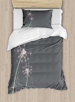 Розовый и серый twin Размеры постельное белье Одуванчик цветы с сердечками Пастель празднование любовь Юбилей 4 шт. Постельное белье