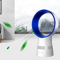 12 inch Remote Control Bladeless Fan Ultra Quiet Timer No Leaf Fan Desktop Ventilation Ventilator 360 Degree Rotary Air Cooler