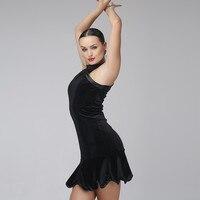 print black velvet sexy latin dance dress to dance costumes salsa dress for latina dancing clothes women latin dress fringe