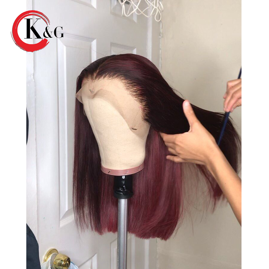 KUNGANG Ombre 1b/99j Lace Front Human Hair Wigs For Women Short Bob Colored Lace Wigs With Baby Hair Brazilian Remy Hair