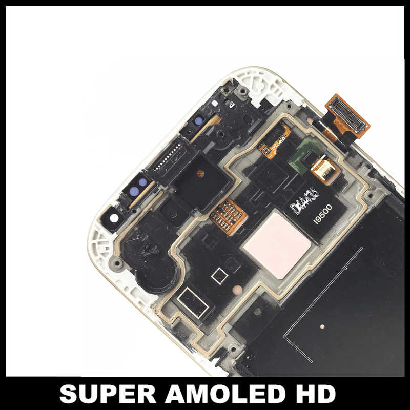 قطعة بديلة لمستشعر شاشات LCD لسامسونج غالاكسي SIV S4 i9500 المحمول AMOLED شاشات LCD للهواتف عرض تعمل باللمس التحويل الرقمي الاطار التجمع