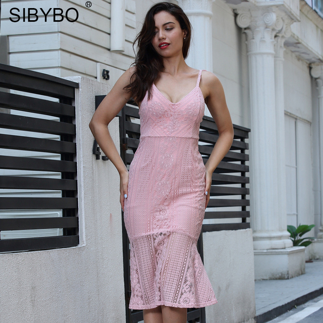 Sibybo Lace Crochet Spaghetti Strap Sexy Bodycon Dress Sleeveless V-Neck  Mermaid Party Dresses Backless Elegant Dress Autumn