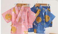 Summer Kids Cotton Casual Pajamas Sleepwear Kimono Japanese Kimono Yukata Lounge Home Clothing Suits 052305