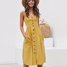 BEFORW Women Boho Floral Dress 2019 Summer Sexy Straps Button Pocket Stripe Beach Dress Ladies Casual Sundress Dresses vestidos купить недорого в Москве