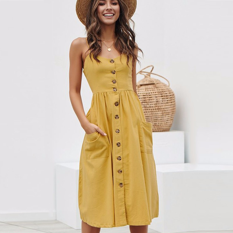 BEFORW <font><b>Women</b></font> Boho Floral <font><b>Dress</b></font> 2019 Summer <font><b>Sexy</b></font> Straps Button Pocket <font><b>Stripe</b></font> <font><b>Beach</b></font> <font><b>Dress</b></font> Ladies <font><b>Casual</b></font> Sundress <font><b>Dresses</b></font> vestidos image