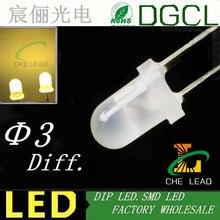 Warm White diffused 3mm led 2800-3000K round color white dip led 3.0-3.5V light diode