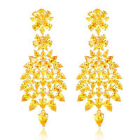 2 Colors Rhodium Plated Gold Bridal Marquise Leaves Cluster Cubic Zirconia Long Dangle Chandelier Drop Earrings