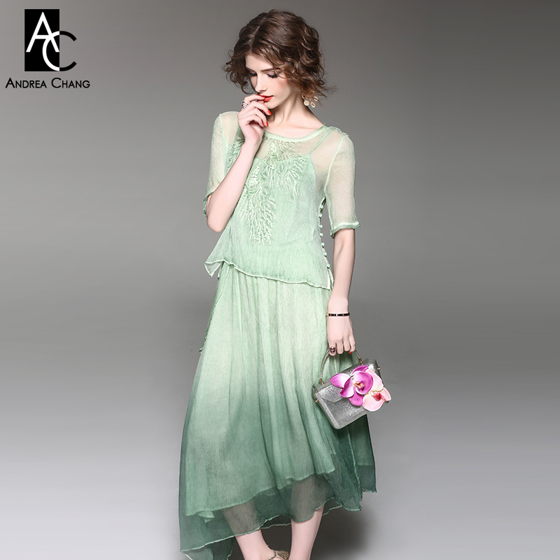 Spring Summer Runway Designer Womans Dress Light Green