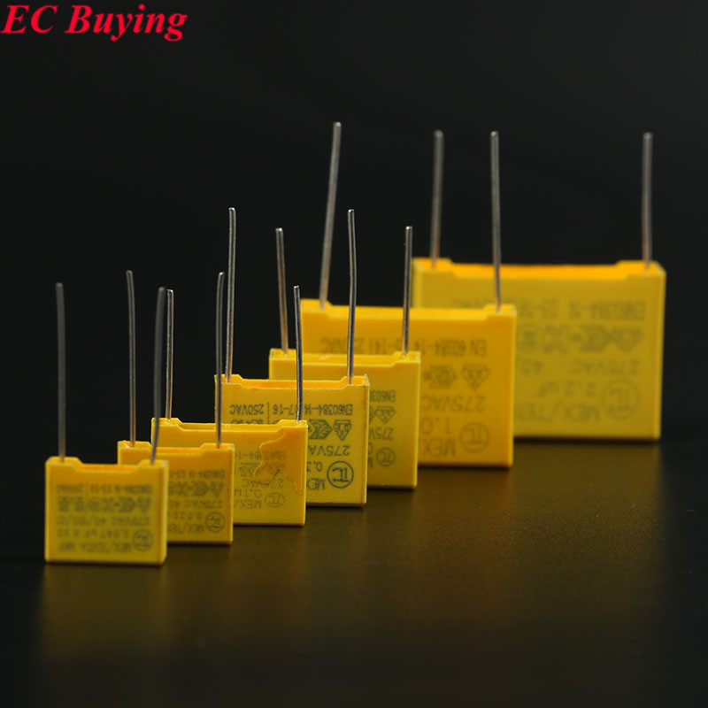 10Pcs Safety Capacitor 275VAC 105 1UF 223 0.022UF 225 2.2UF 334 0.33UF 473 0.047UF 474 0.47UF 104 0.1UF Capacitors X2