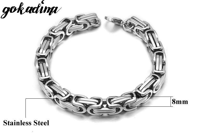 Gokadima New Product, Silver Color Stainless Steel bracelets Link Byzantine Chain Bracelet For MENS Jewelry Fashion Good quality 4