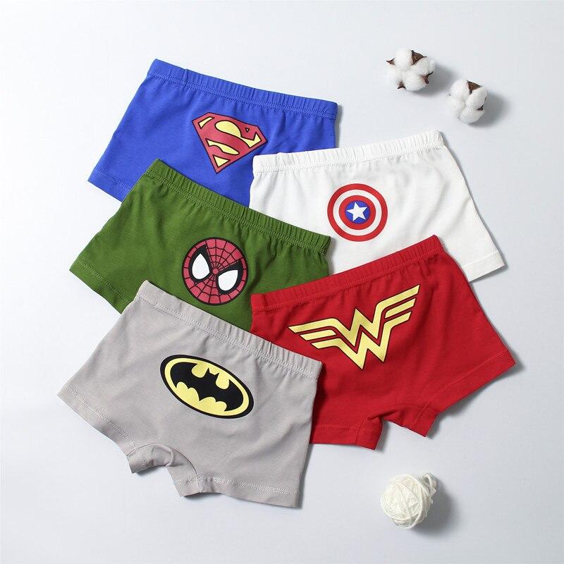 Lot 5pcs avengers batman hero Children cartoon boy cotton underwear Boxer shorts