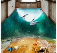 3d customized wallpaper Home Decoration Waves Seabirds beach Toilets Bathroom Bedroom 3D Floor pvc wallpaper 3d