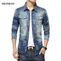 2016 New Fashion Brand Men Floral Jeans Shirt Slim Fit Long Sleeve Double Pocket Denim Shirt Mens Casual Social Denim Shirts 5XL