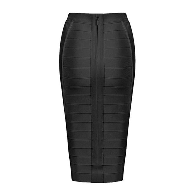 Seamyla 2019 Pencil Skirts Women Red Blue Black Orange Bodycon Bandage Skirt Sexy Knee Length Striped Midi Skirt Club High Waist 6