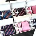 Nuevo modelo 6 unids/set 100% Seda de Los Hombres corbatas Corbata de moda conjunto de Tela Escocesa de La Raya Sirve el Lazo Corbatas con caja de regalo libre gratis
