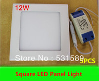 5pcs Free Shipping 12W Super Bright Square LED Panel Light Cool Warm White AC85 265V For