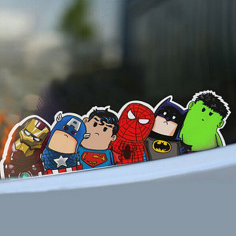 Car sticker design philippines - Super Hero Hitchhike Save The World Car Styling Motorcycle Decal Moto Stickers Funny Cartoon Reflective Car