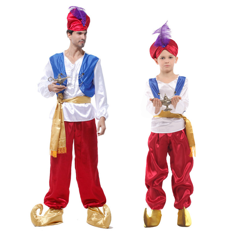 Adult Children Halloween Party Aladdin Costumes Boy Aladdin Lamp Genie Costume Adam Prince Fantasia Party Arab Clothing for Kids