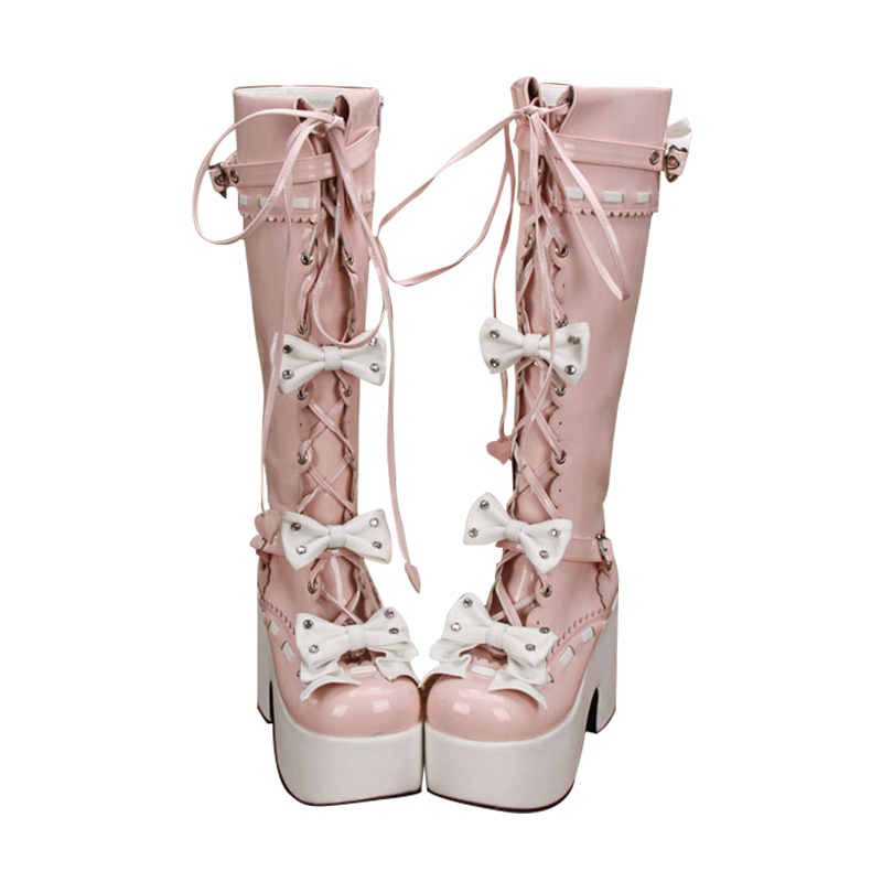 Motocicleta Dulce Mujeres Señora Pink Chica Patent Plataforma 33 Leather Trifle Botas Zapatos Arco Lolita Tacones Impresión 47 Mori Bombas Angelical Mujer xIqpwtUST