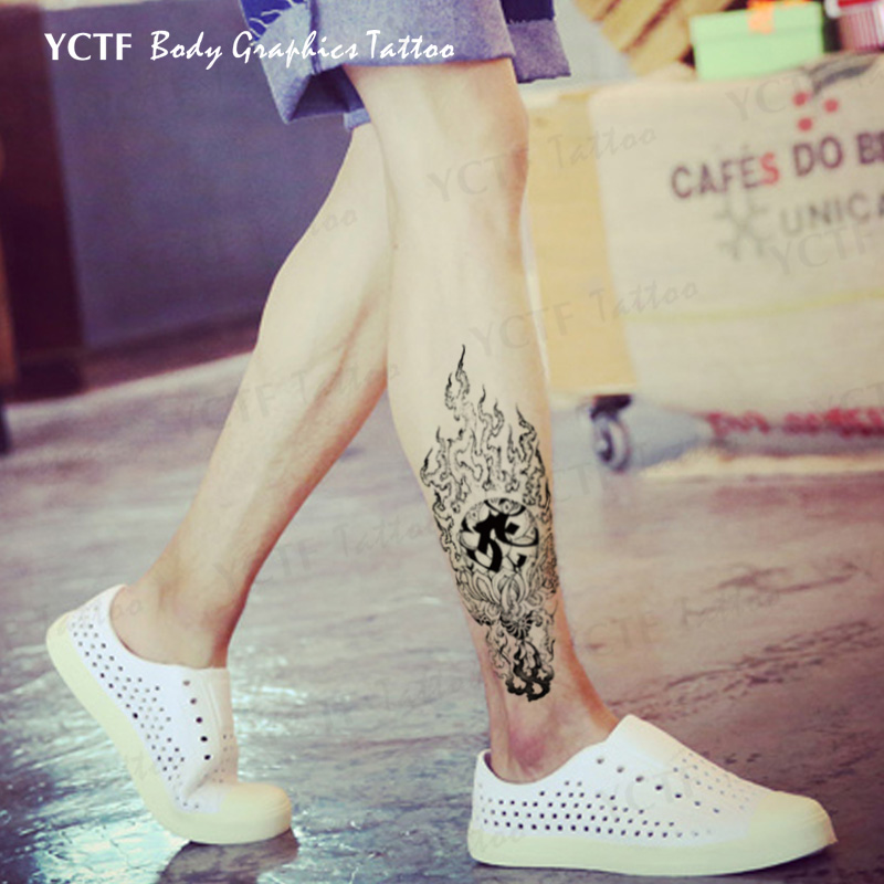 Temporary Tattoos Sticker for Women Men Arm Leg Sexy Black Fake Old Traditional Flame Design Waterproof Long Lasting Makeup