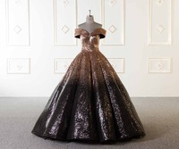 2018 New Gradient Sequins Evening Dress Ball Gown Black And Gold Off The Shoulder Lace Up