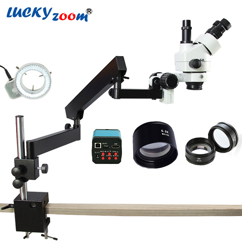 Lucky Zoom 3.5X-90X Simul-Focuse Articulating Arm Pillar Stand Stereo Microscope 14MP HDMI Camera 144LED Light Phone Microscopio free shipping 3 5x 90x table pillar stand zoom magnification binocular stereo microscope inspect pcb microscope 144led