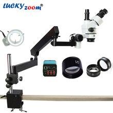 Lucky Zoom 3.5X-90X Simul-Focuse Артикуляционная стойка стерео микроскоп 14MP камера HDMI 144LED свет телефон Microscopio