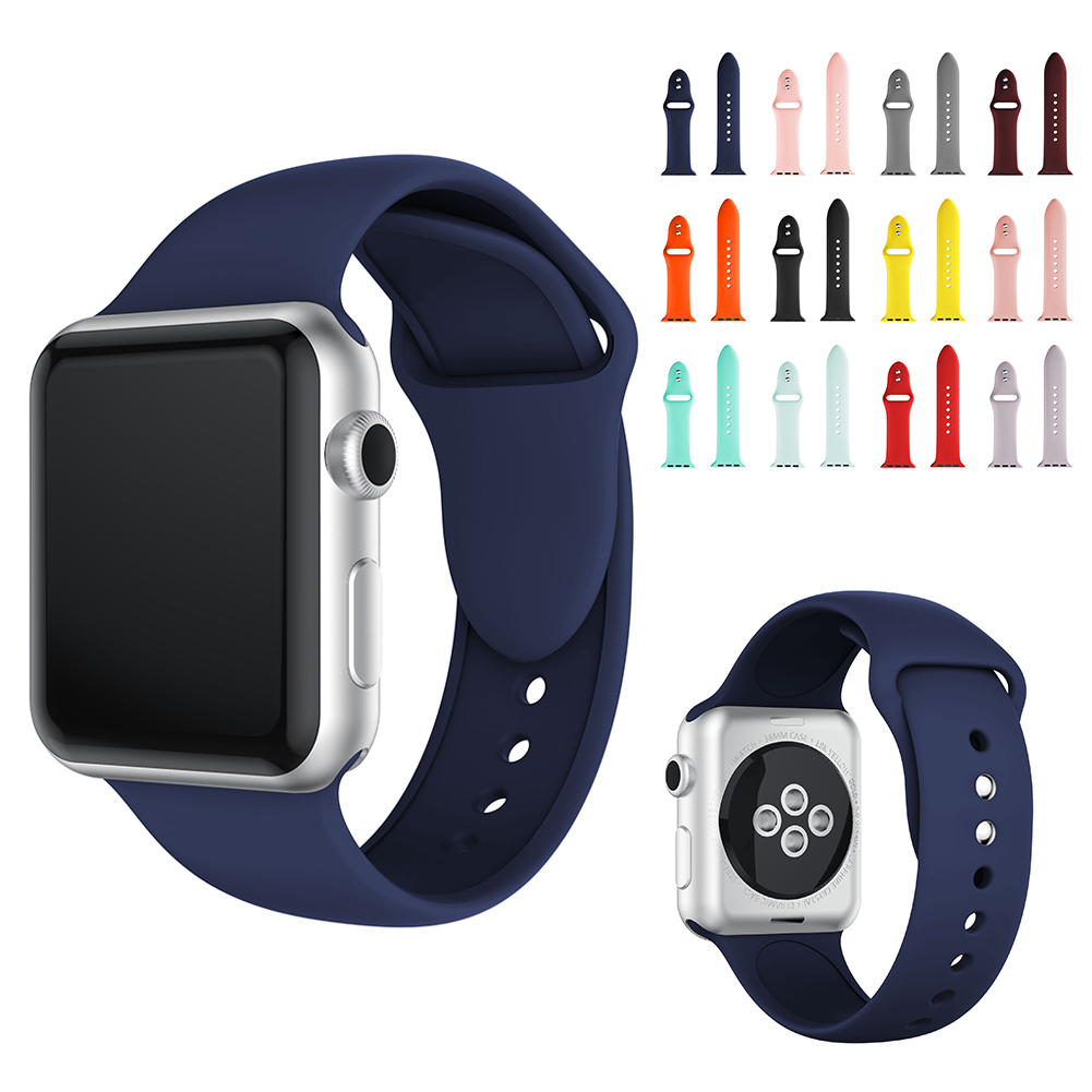 High Quality Silicon Sport Band For IWatch Replacement Watch Strap For Apple Watch Series 4 3 2 1 38mm 42mm 40mm 44mm