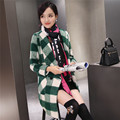 Winter Women New retro classic plaid long section double-breasted wool coat female plus size outerwear thick wool & blends MZ915