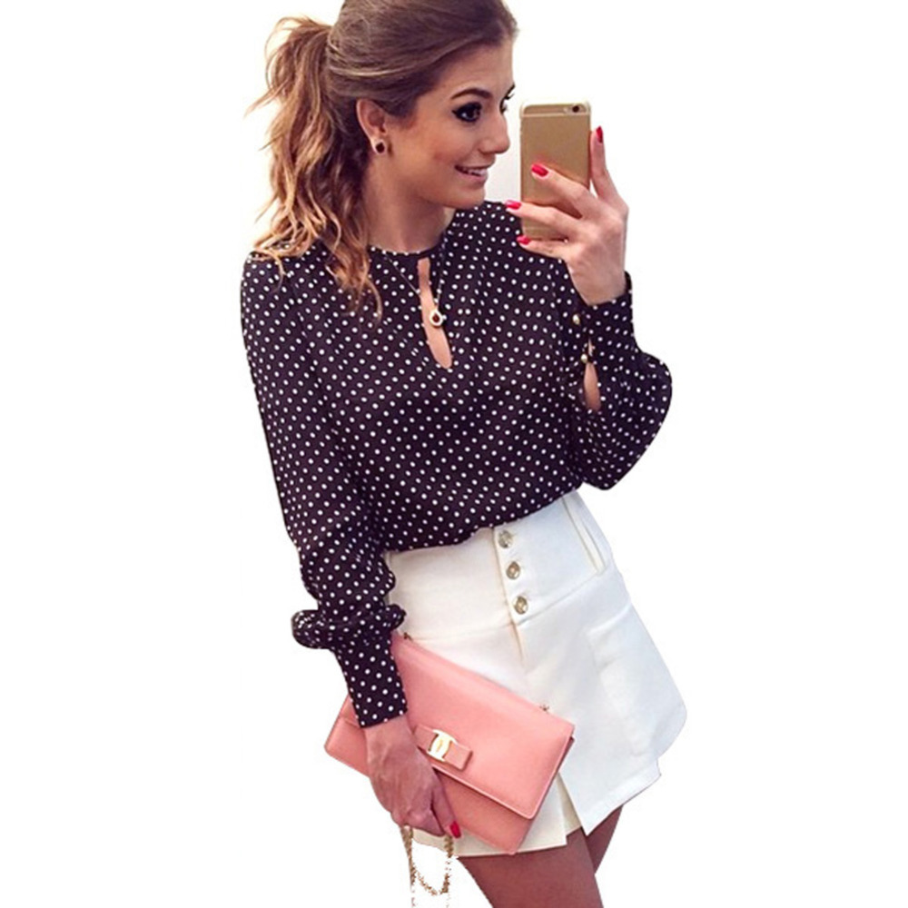 Long sleeve slit open ladies chiffon polka dot blouse for Long sleeve open shirt
