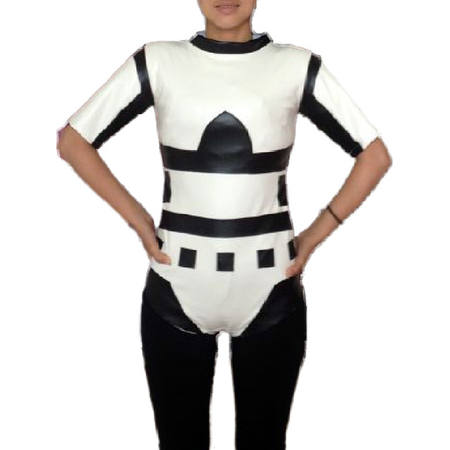 sexy Stormtrooper Costume Star Wars cosplay adult women black white faux leather catsuit stretch tight bikini  sc 1 st  AliExpress.com & sexy Stormtrooper Costume Star Wars cosplay adult women black white ...