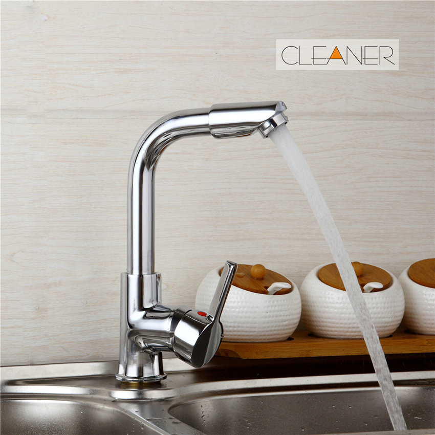 360 Swivel Spout Deck Mounted Chrome Brass Finish Bathroom Basin Hot Cold Water Mixer Kitchen Sink