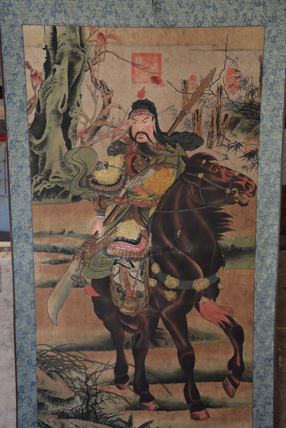Hand-painted Chinese paintings, picture the long axis of the Qing Dynasty in China,GuanYu, free shippingHand-painted Chinese paintings, picture the long axis of the Qing Dynasty in China,GuanYu, free shipping