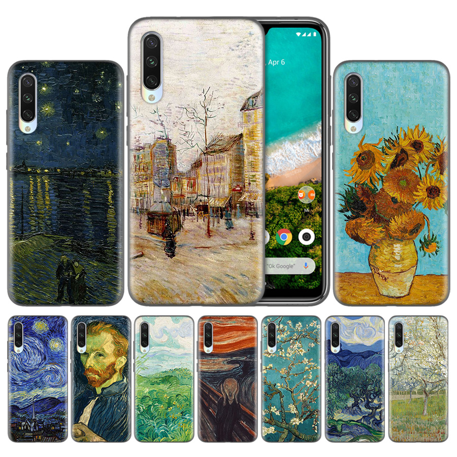 TPU <font><b>Fundas</b></font> Capas Phone Case For <font><b>Xiaomi</b></font> Redmi <font><b>Mi</b></font> 5X 6X 8 9 CC9 9T CC9e Pro A1 A2 <font><b>A3</b></font> Lite F1 Covers Coque <font><b>Van</b></font> <font><b>Gogh</b></font> oil painting image